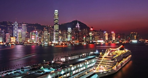 Walk along the Kai Tak Cruise Terminal and enjoy the the Hong Kong skyline while illuminates the sky on your Hong Kong Vacation