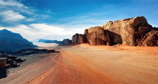 You will be able to see Red sand in a desert of Wadi Rum on your next trip to Jordan.