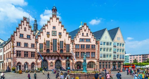 Romerberg Square is the busy market square located in Frankfurt's Old Town