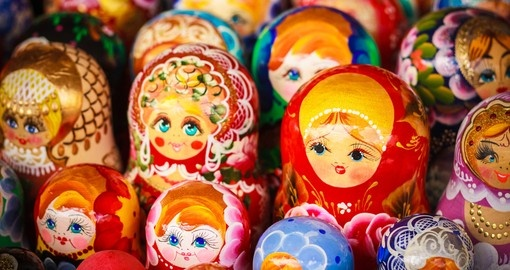 Colorful Russian nesting dolls matreshka at the market