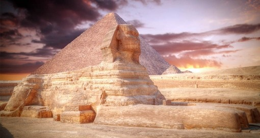 A highlight of your Egypt tour is a visit to the Sphinx and Great Pyramids at Giza