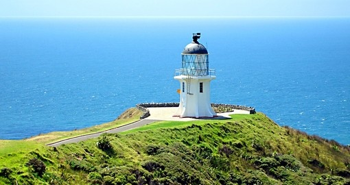 Enjoy the view from the Cape Reinga Lighthouse on your next trip to New Zealand.