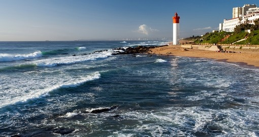 Lighthouse in the Morning Sunlight in Umhlanga Beach in Durban