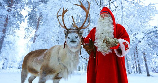 Meeting Santa Clause and his trusty Reindeer is part of your Finland tour