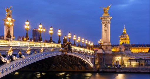 The Pont Alexandre III is one of the most elegant bridges in the City of Light, built for the Exposition Universelle of 1900