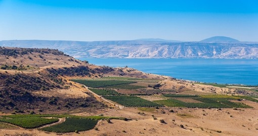 View from Galilee Mountains to Galilee Sea