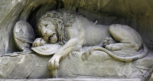 The lion monument in Lucerne during your next Switzerland tours.