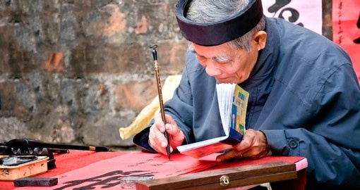 Old master writing ancient characters