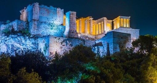 Your Greece vacation includes a night tour of Athens to see the Acropolis.