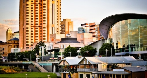 Experience Adelaide skyline at sunset during your next trip to Australia.