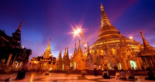 The Shwedagon Pagoda is visited during your Myanmar vacation