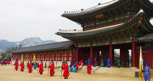 The ceremony changing of the guards at the Gyeongbokgung Palace