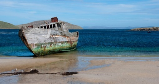 Shipwreck on a beach in the Falkland Islands