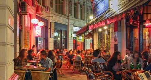 Enjoy the night scene in the 'old town' - always a popular spot on all Bucharest tours.