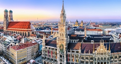 Historic Munich City Hall and the Frauenkirche