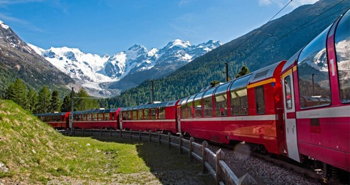 The Bernina Express travels through incredible alpine landscapes and a UNESCO World Heritage Site