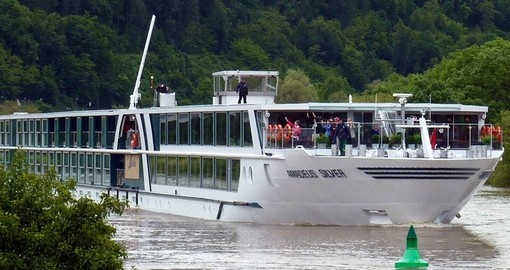 The MS Amadeus Silver cruising on the Danube River