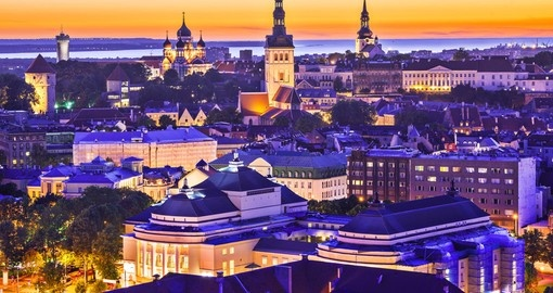 The skyline of Tallinn at sunset - always a great photo opportunity on all Estonia tours.