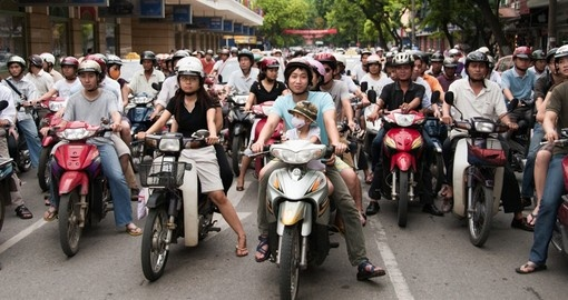 A busy and congested road in Hanoi