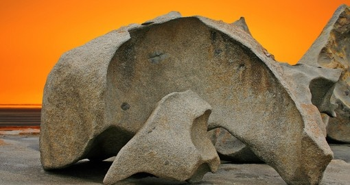 Remarkable Rocks against an orange sky on Kangaroo Island