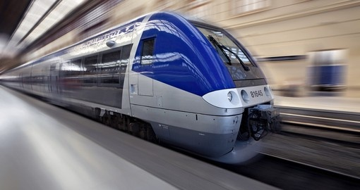 High-speed train in motion, France