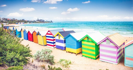 Check out the Brighton Beach Bathing Boxes outside of Melbourne