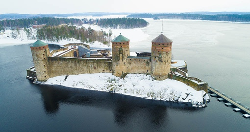 Olavinlinna fortress on Saimaa Lake in Savonlinna, Finland