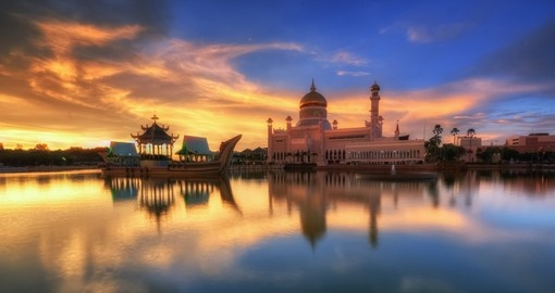 Brunei during a burning sunset