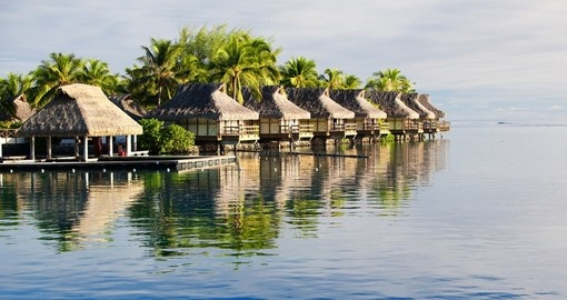 Over water bungalows of the tropical South Pacific