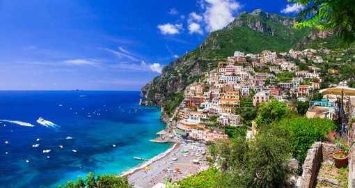 The cliffside village of Positano, with it's steep, narrow streets lined with Cafes and boutiques is a favorite of the International Jet Set