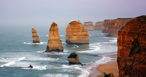 On your Australia Vacation visit the 12 Apostles in Victoria which is a natural landmark of 12 protruding stones from the water