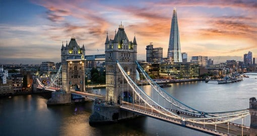 Built between 1886 and 1894, Tower Bridge crosses River Thames and is an iconic symbol of London