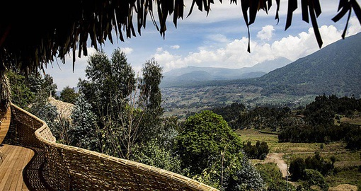 Take in the breathtaking views from Bisate Lodge on your Rwanda Vacation