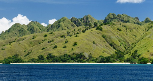 Visit the green mountain scaped Komodo Island on your next trip to Indonesia.
