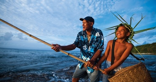 Beach Fishing with the locals is a fun thing to do on all Cook Islands vacations