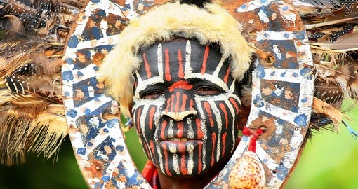 Portrait of a Kenyan warrior with traditionally painted face