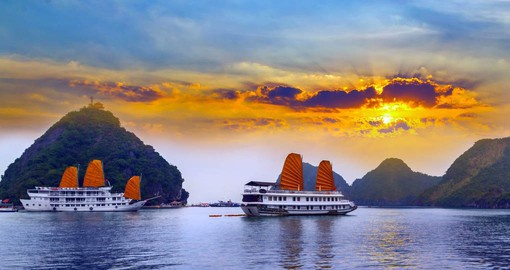 Cruise the Gulf of Tonkin at Halong Bay