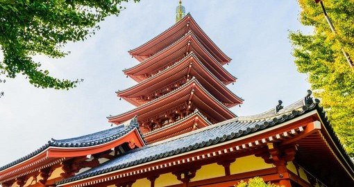 Walk within the grounds of Asakusa Kannon Temple and learn about Japanese history on one of your Japan Tours