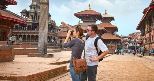 Beautiful young couple at Durbar Sqaure in Patan, Lalitpur city