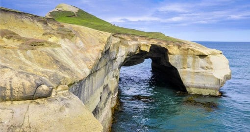 A natural rock arch at Tunnel Beach on the Otago Peninsula near Dunedin