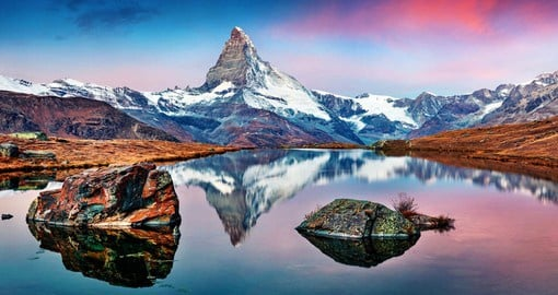 The majestic Matterhorn, certainly the most famous mountain in Europe, looms over a breathtaking Alpine panorama