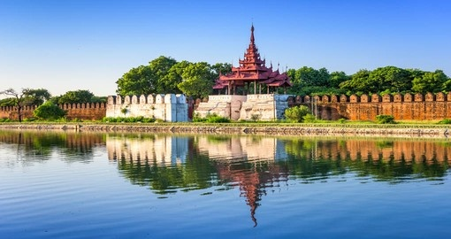 Mandalay, Myanmar. The palace wall and moat