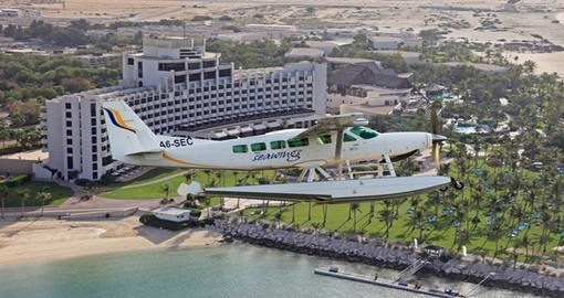 Explore gorgeous view from seaplane over Dubai.