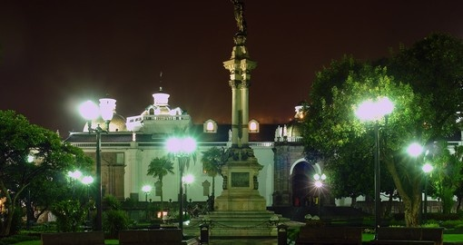 Plaza de la Independence at night, Ecuador