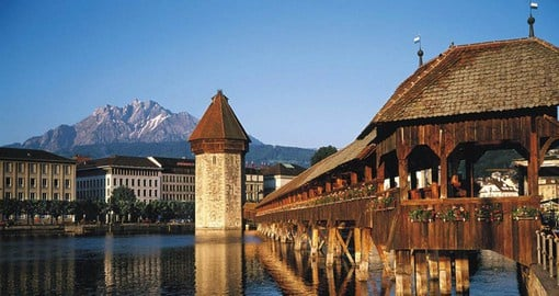 The covered, medieval Chapel Bridge forms the centrepiece of Lucerne's townscape