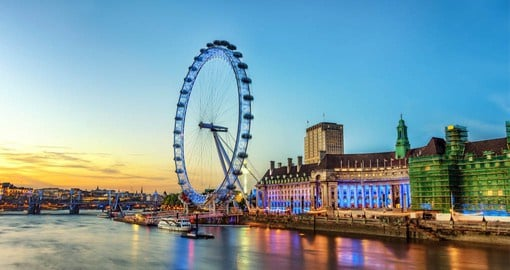 The London Eye on the South Bank of the River Thames is Europe's tallest cantilevered observation wheel