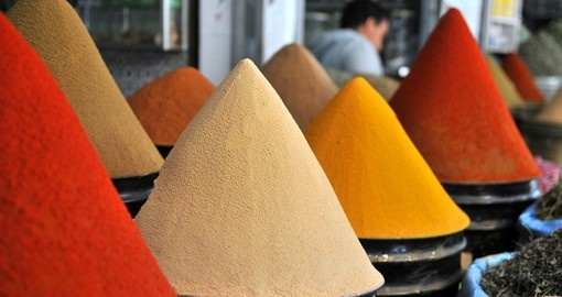 Colourful spices at a market in Marrakesh