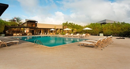 Lounge by the pool on your trip to the Galapagos