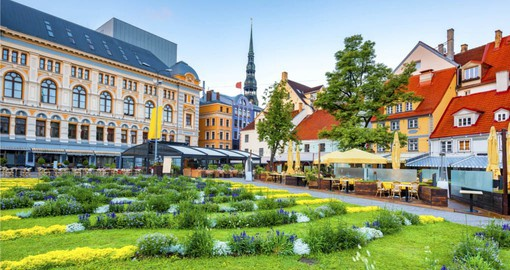 Spend time in charming Livu Square during your trip to Latvia