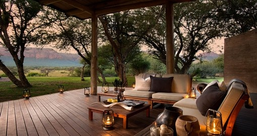 Lounge with spectactular views at the Marataba Safari Lodge during your South Africa trip.